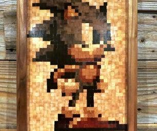 16-Bit Wood Mosaic - Sonic!