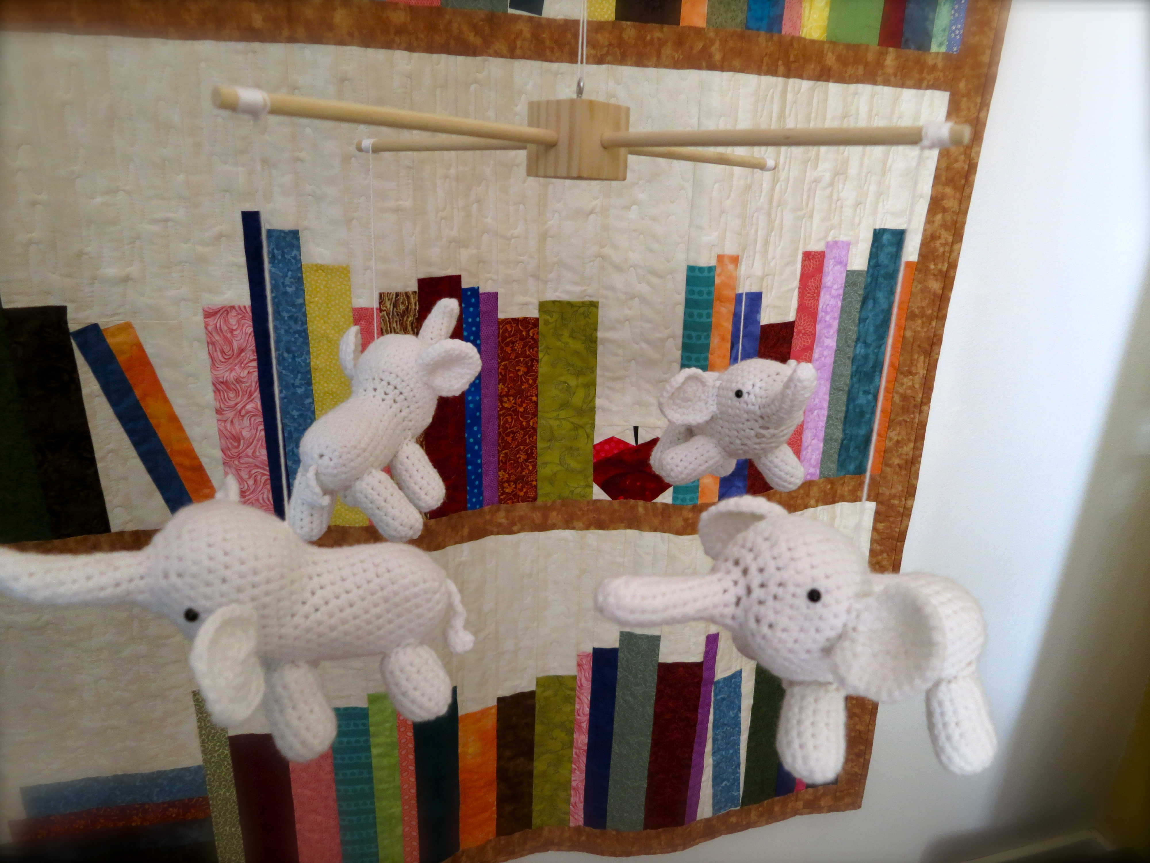 Crocheted Elephant Mobile