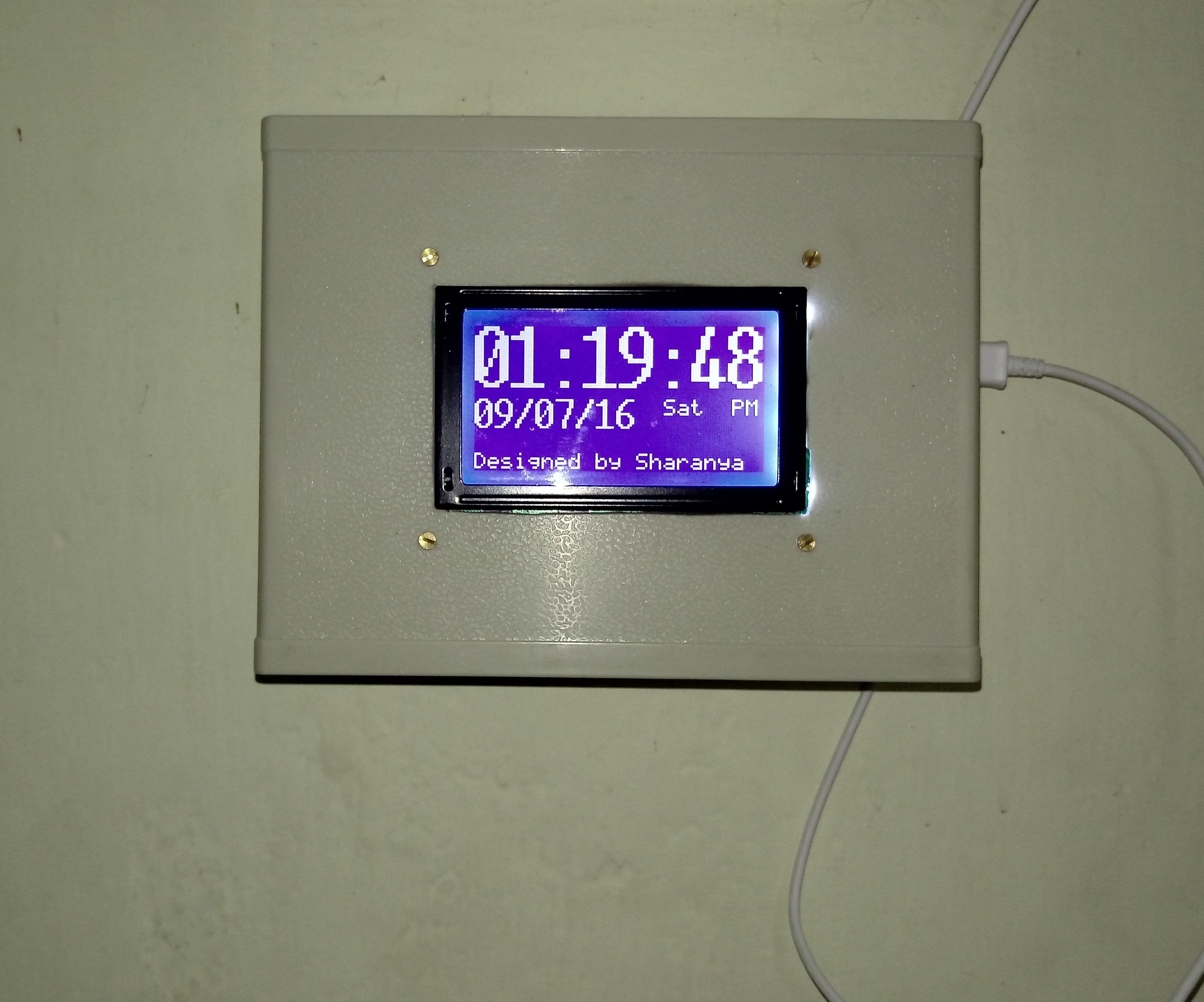 Clock-Calender using DS3231+GLCD+Atmega32