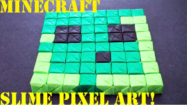 How to Make an Origami Minecraft Slime Pixel Art (No Glue or Tape - Sonobe)!