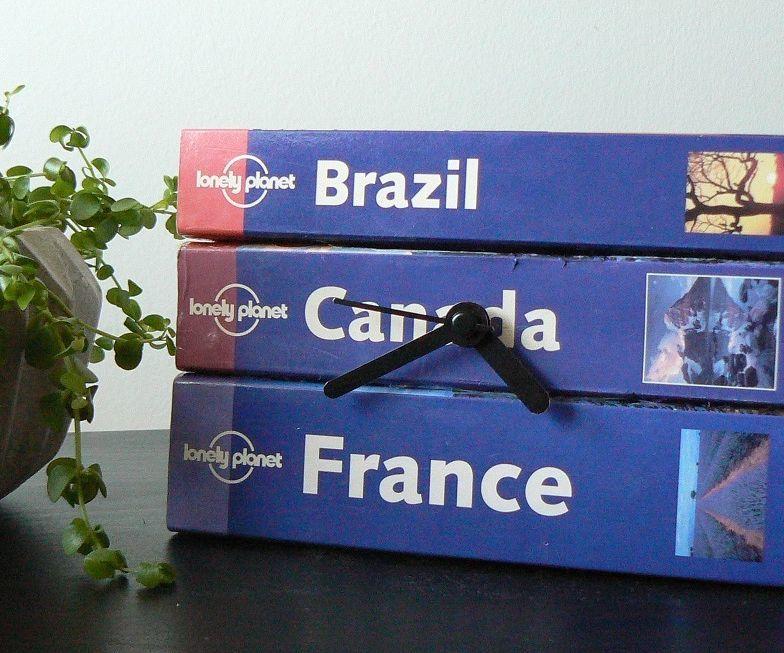 DIY Clock From Travel Books