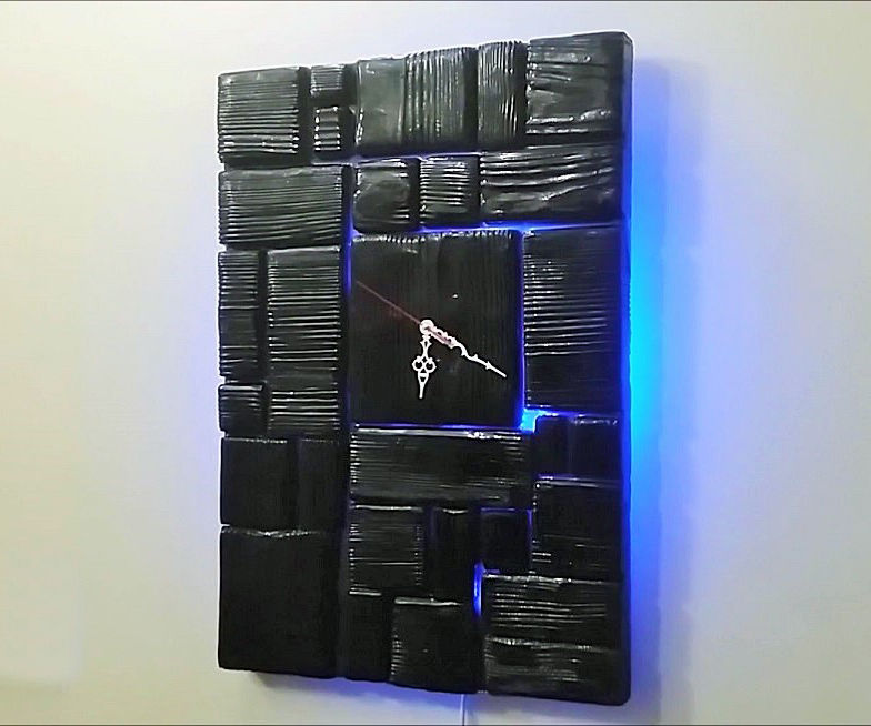 Shou Sugi Ban Wooden Wall Clock
