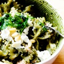 Basil pesto pasta with tuna and pine nuts