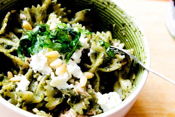Basil Pesto Pasta With Tuna and Pine Nuts