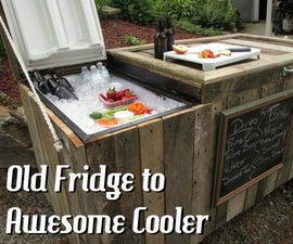 Awesome Rustic Cooler From Broken Refrigerator and Pallets