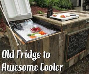 从坏冰箱和托盘可怕的乡村冷却器