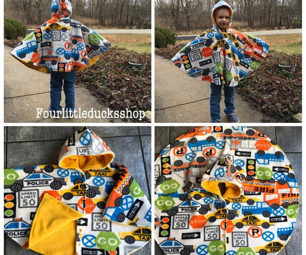 Car Seat Poncho With Directional Print Fleece