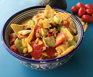 colorful rice salad with crunchy nacho bites
