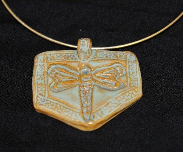 Stoneware Clay Dragonfly Pendant