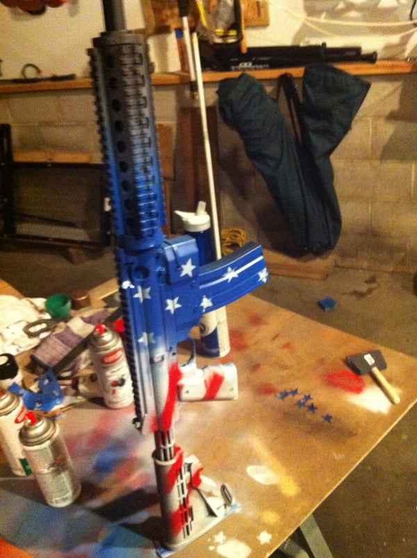 How to Paint Your Gun: Red White and Blue Camo