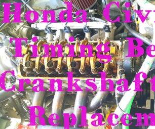 Replacing the Timing Belt and Crankshaft Seal (Honda Civic 1999, D15B Engine).
