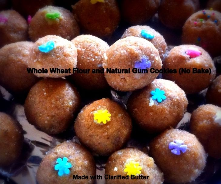 Whole Wheat Flour and Natural Gum Cookies (No Bake)