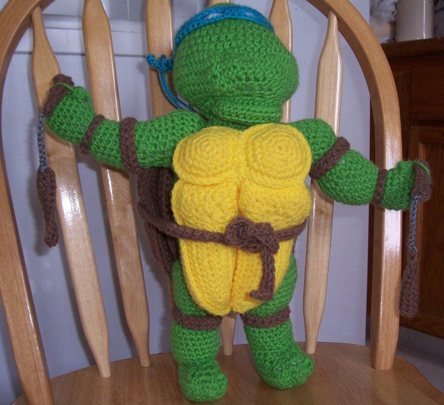 Teenage Mutant Ninja Turtle crochet puppet doll
