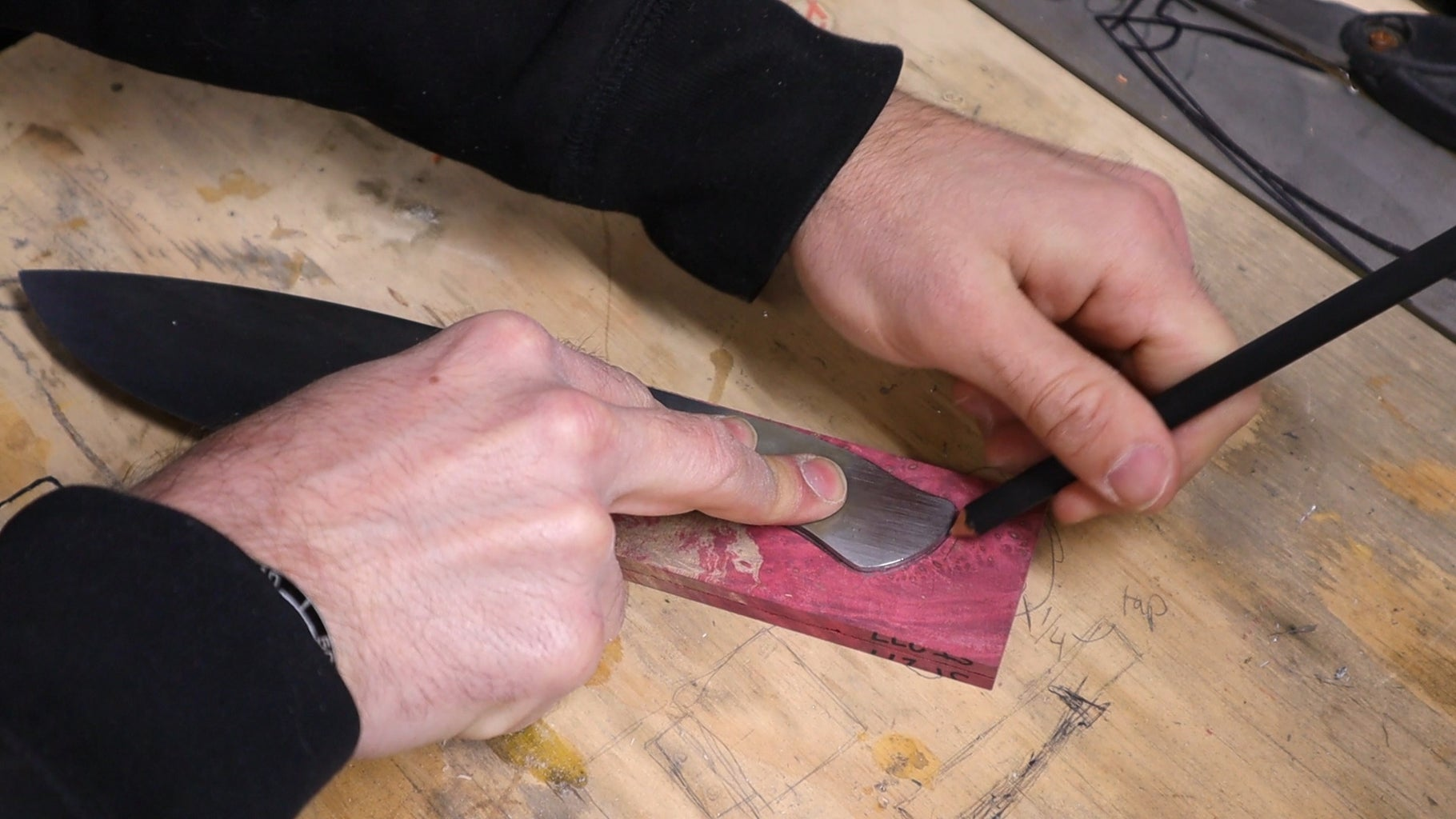 Drawing the Handle Shape on the Wood