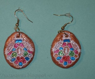 Earrings From Clay With Lace