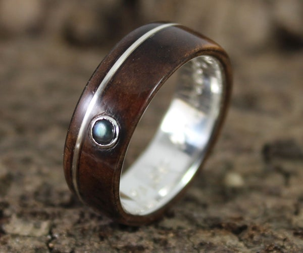 Silver and Walnut Wood Ring