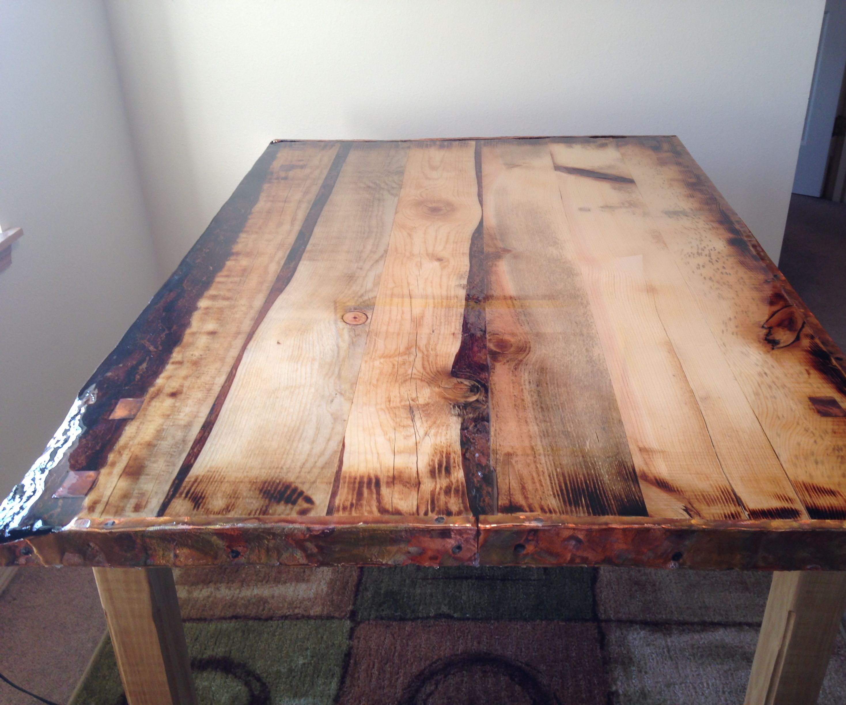 Epoxy Finished, Rustic Dining Table