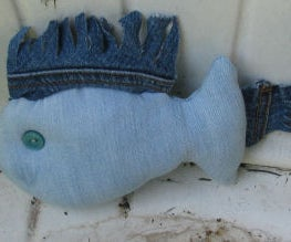 How to Make a Denim Blue Fish From Old Jeans