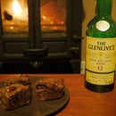 Whisky Brownies with Honey Caramel Centres
