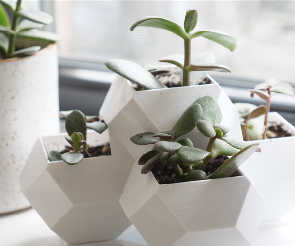 3D Printed Geometric Planter With Drainage