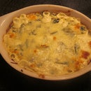 Tasty reduced fat hot spinach and artichoke dip