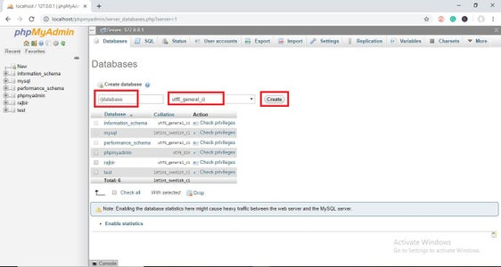 Now Create New Database As Shown in the Picture Below.