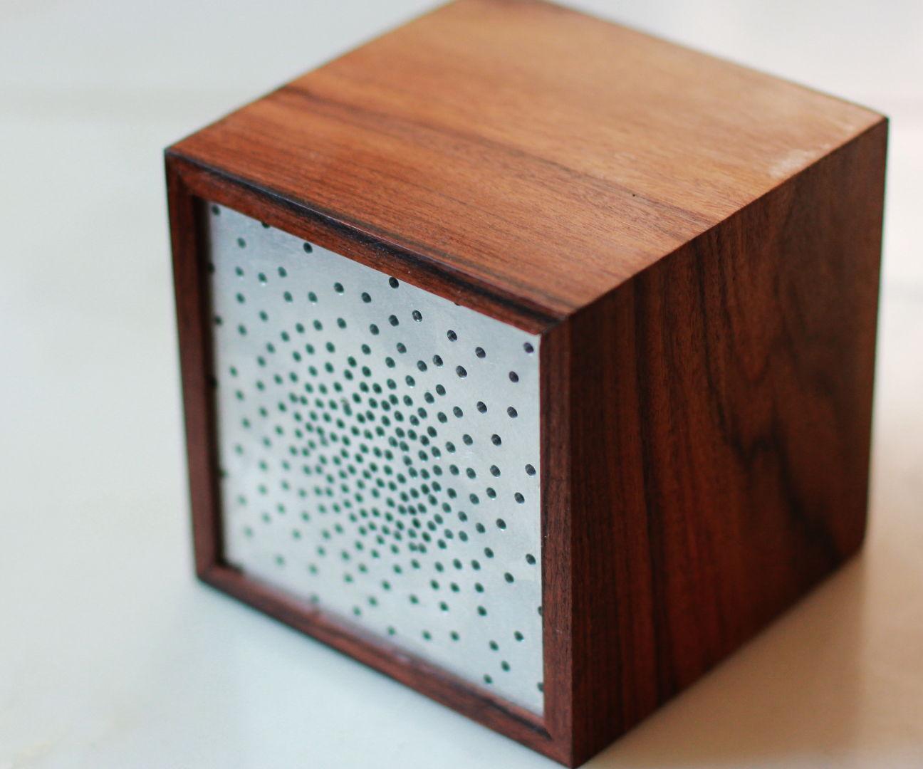 Wireless Retro Cube Speaker W/ Rosewood