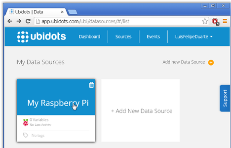 """Now Click on the New Source """"My Raspberry Pi"""""""