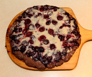 Black Forest Pizza with White Chocolate Crumble Topping