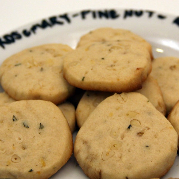 Lemon Cookies With Pine Nuts, Fresh Rosemary, and Roasted Garlic