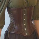 Green hemp twill underbust corset