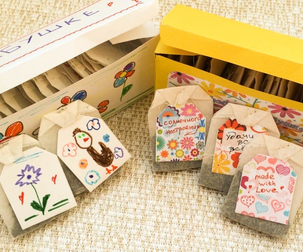 DIY With Kids for Mother's Day. Gift Tea Box and Tea Tags.