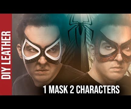 Leather Spiderman Inspired Mask - Original and  Symbiote (black Suit)