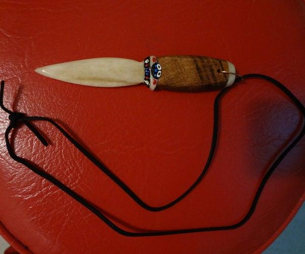 Handmade Bone Neckhanger Knife.