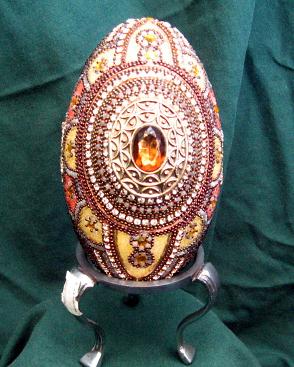 Beaded/Jeweled Amber Goose Egg
