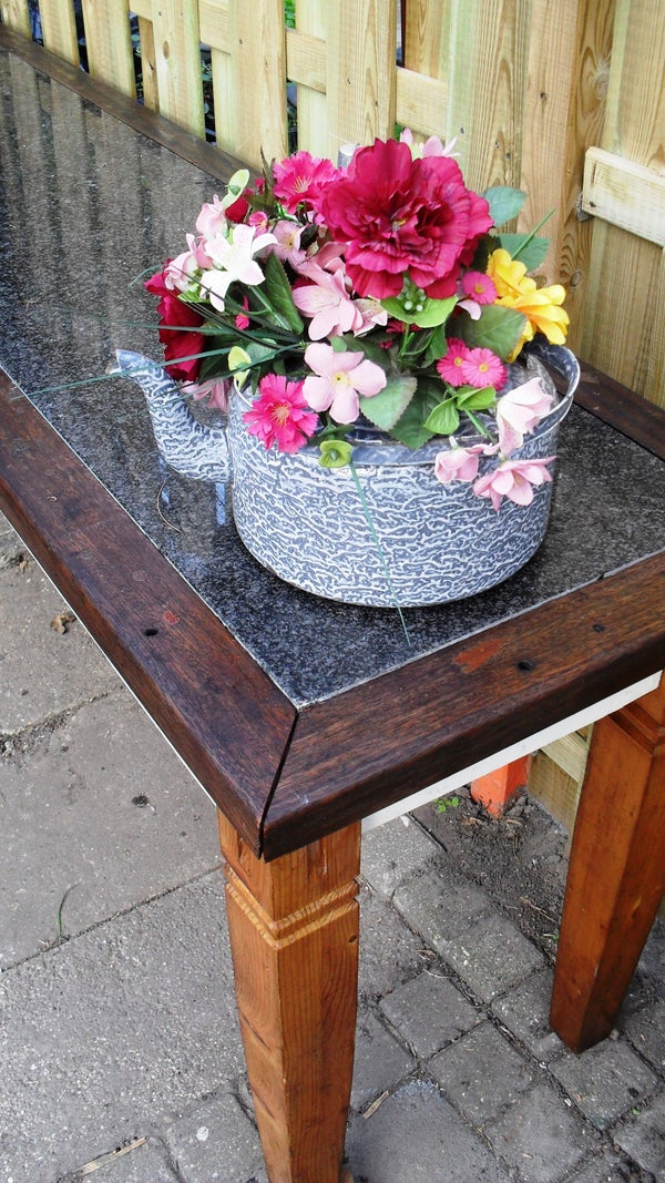 Garden Side Table With Hard Stone Top (all Re-used Materials)
