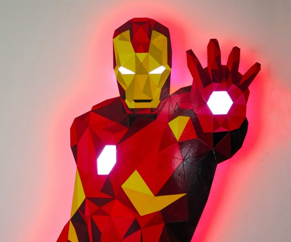 Low-Poly Iron Man With Wifi-Controlled LED Strips