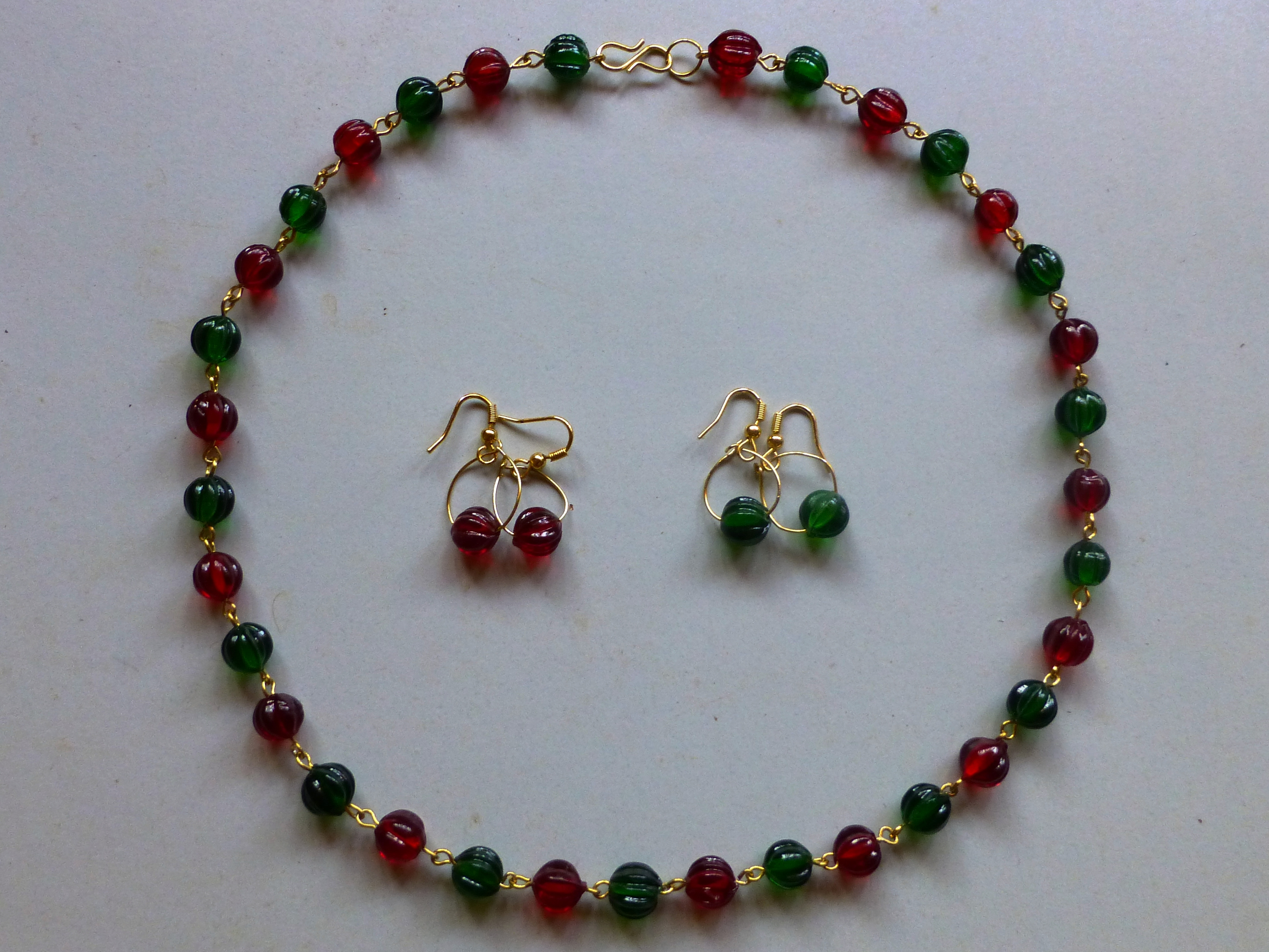 Crystal Beaded Necklace With Earrings