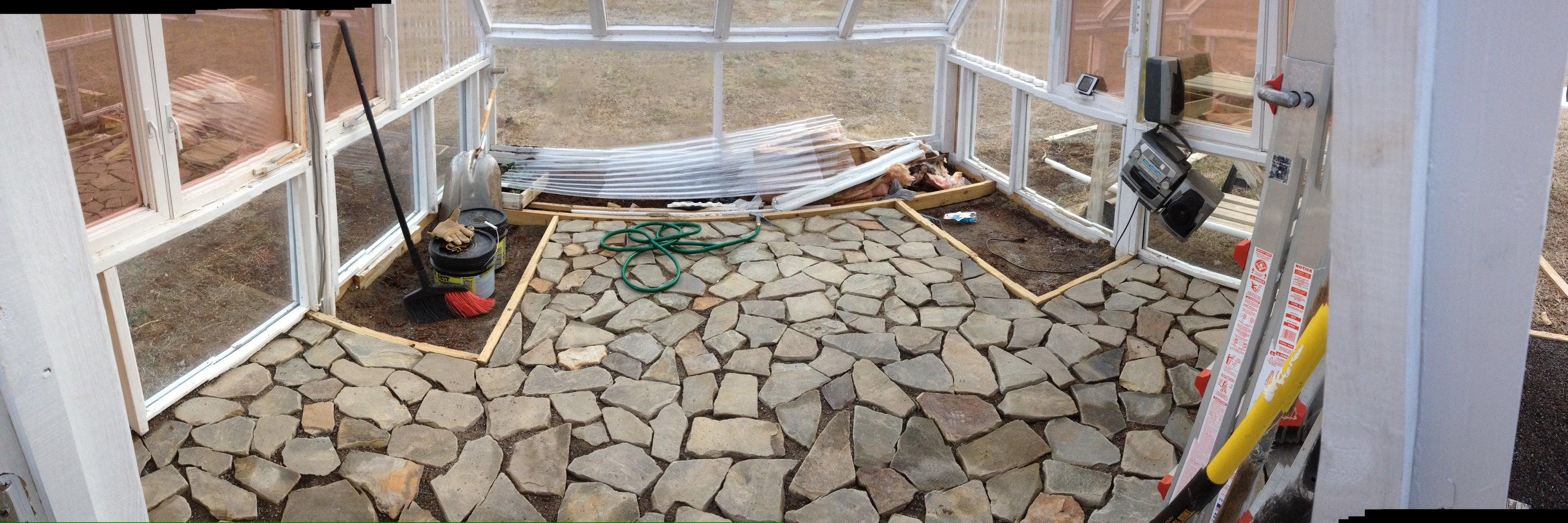 Flagstone Floor Installation - Heat Storage Device.