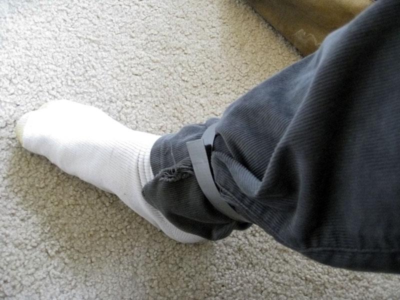 Professional grade duct tape bike leg strap