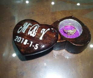 DIY Engagement Ring Wooden Box Heart Shaped