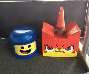 Lego Movie Masks:  Benny the Spaceman and Angry Unikitty