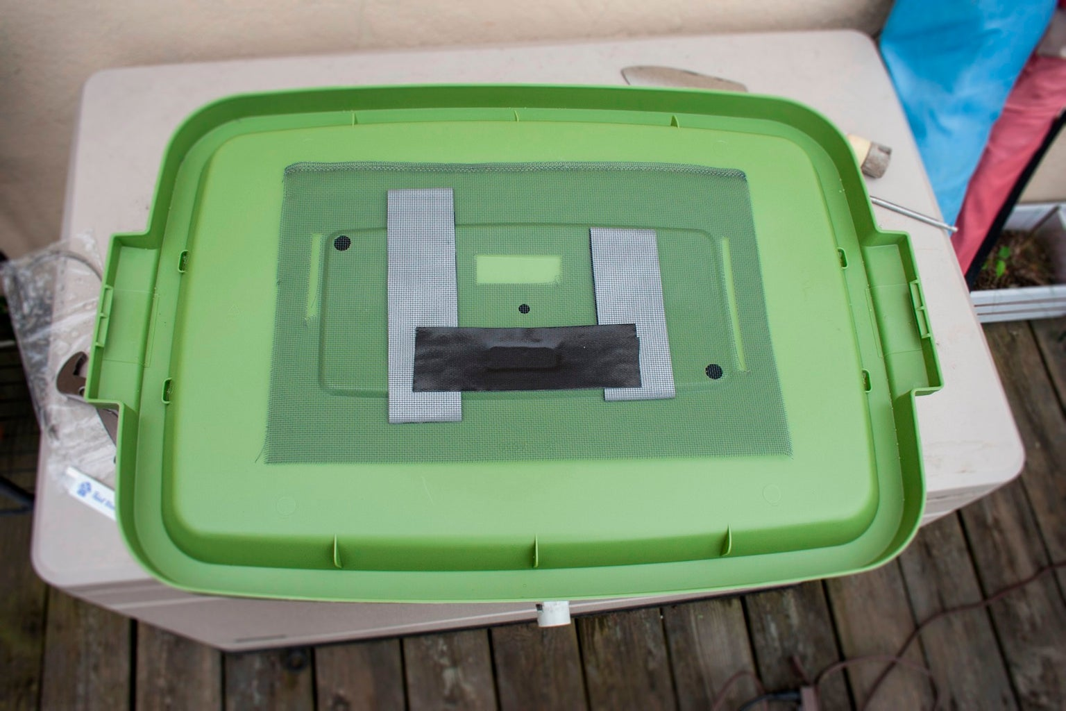Cut Out Your Screen, and Attach It to the Under Side of the Bin Top