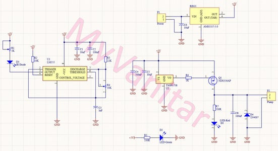 Figure-1: Schematic Diagram of the Automatic Hand Sanitizer Dispenser (First Design)