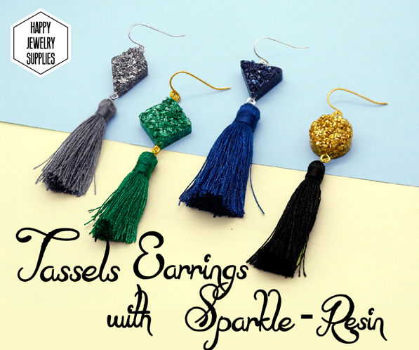 DIY Tutorial - How to Make Tassels Earrings With Sparkle-Resin
