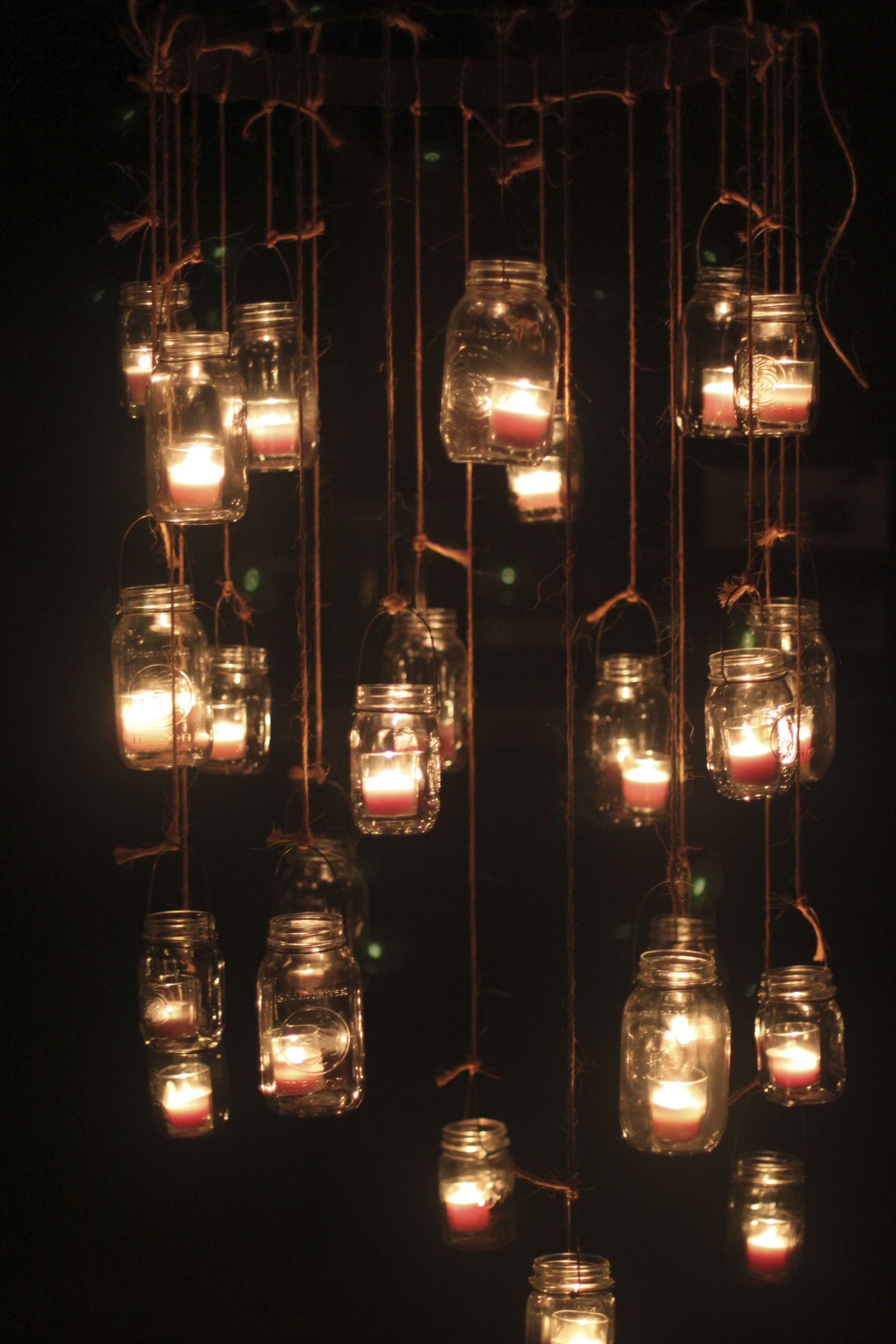 Mason Jar Candle Chandeliers