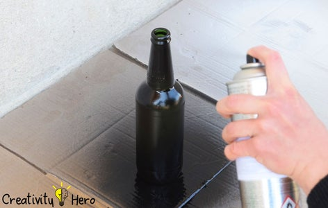 Spray Painting the Bottles. (Method 2: Creating Patterns With Tape and Self-adhesive Paper)