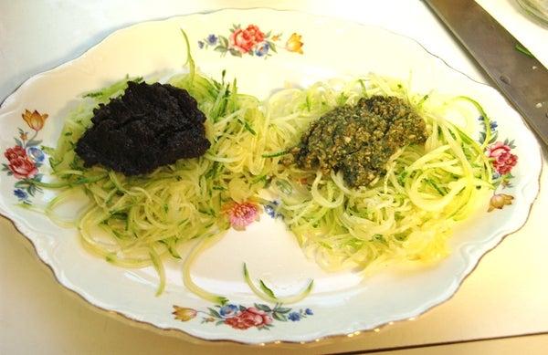 Raw Vegan Zucchini Red and Green Pasta
