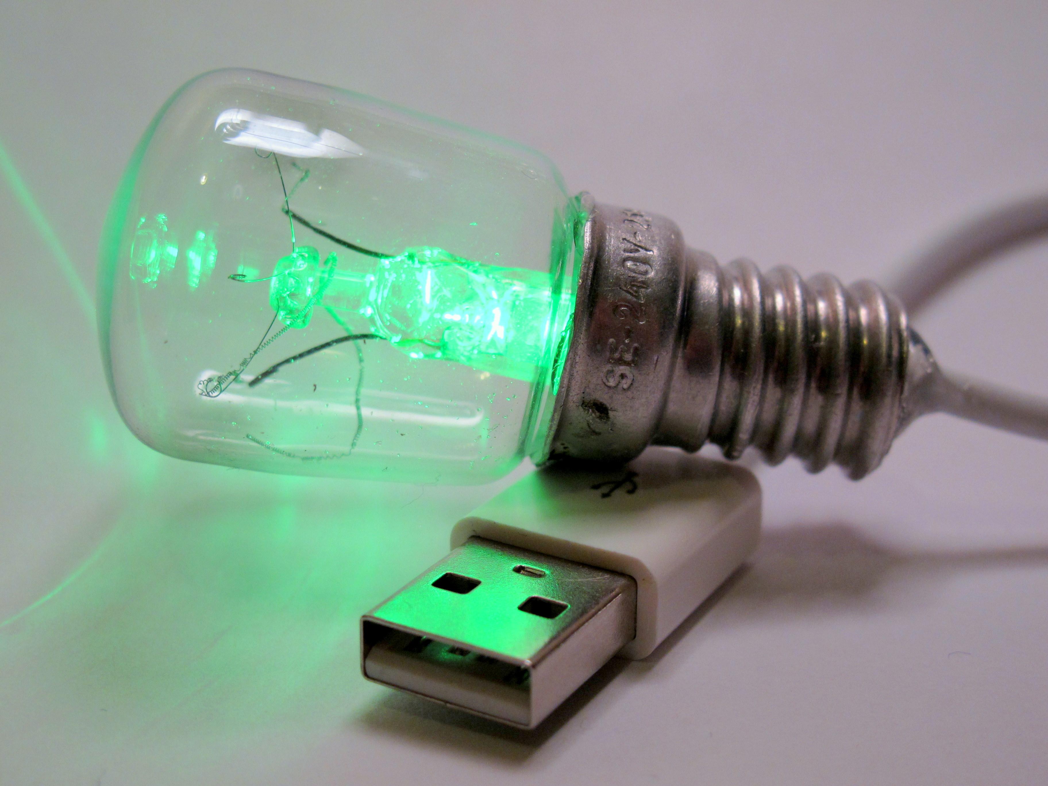Green LED USB Bulb