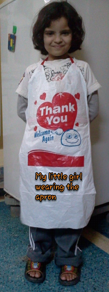 Apron from a plastic bag
